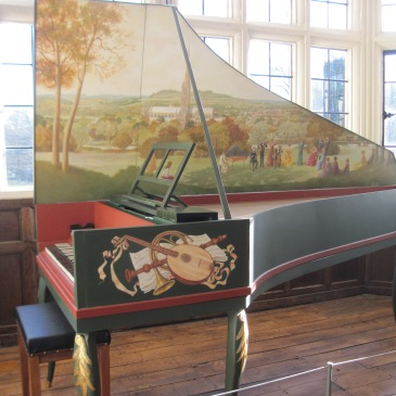 Harpsichord with cathedral painted on lid, town museum.